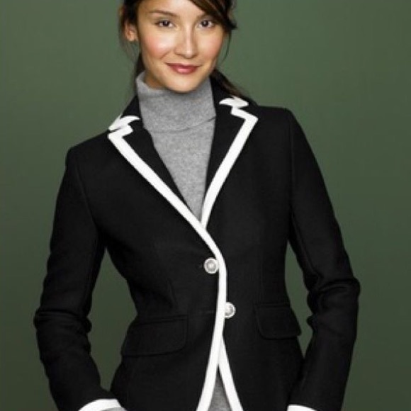 J. Crew Jackets & Blazers - J. Crew Wool Lexington Blazer in Black & Cream
